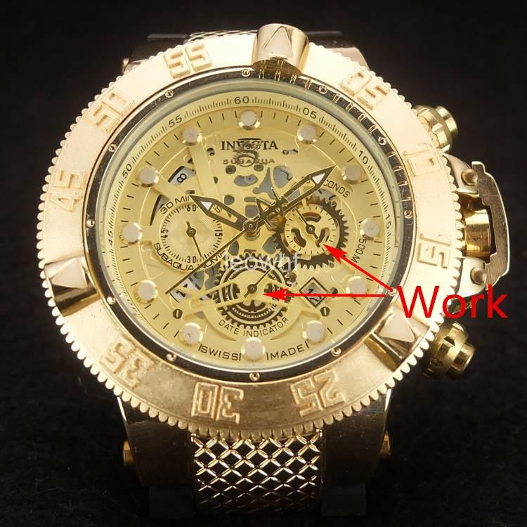 028f1f3a33f Acquista Invicta Men Ring Rotary Orologio AAA In Gomma Di Quarzo Di Lusso 6  Pointer Work Full Funtional Acciaio Inossidabile Super Big Gold Watch A   19.29 ...