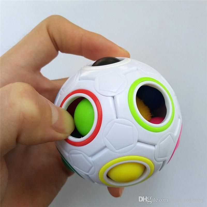 HOT Rainbow Ball Magic Cube Speed Football Fun Creative Spherical Puzzles Kids Educational Learning Toys games for kids Gifts DHL ship
