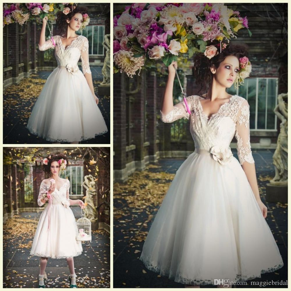 Discount Lace Appliqued 2015 Vintage Wedding Dresses Sexy V Neck Handmade Flower A Line Tea Length Custom Made Outdoor 3 4 Long Sleeve Bridal Gowns