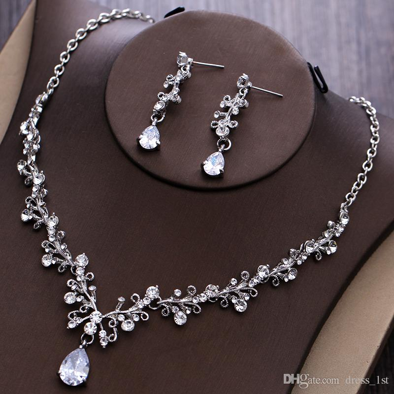 2017 Women Fashion Bridal Rhinestone Crystal Drop Necklace Earring Plated Jewelry Sets Wedding Earrings Pendant Cheap EN1101