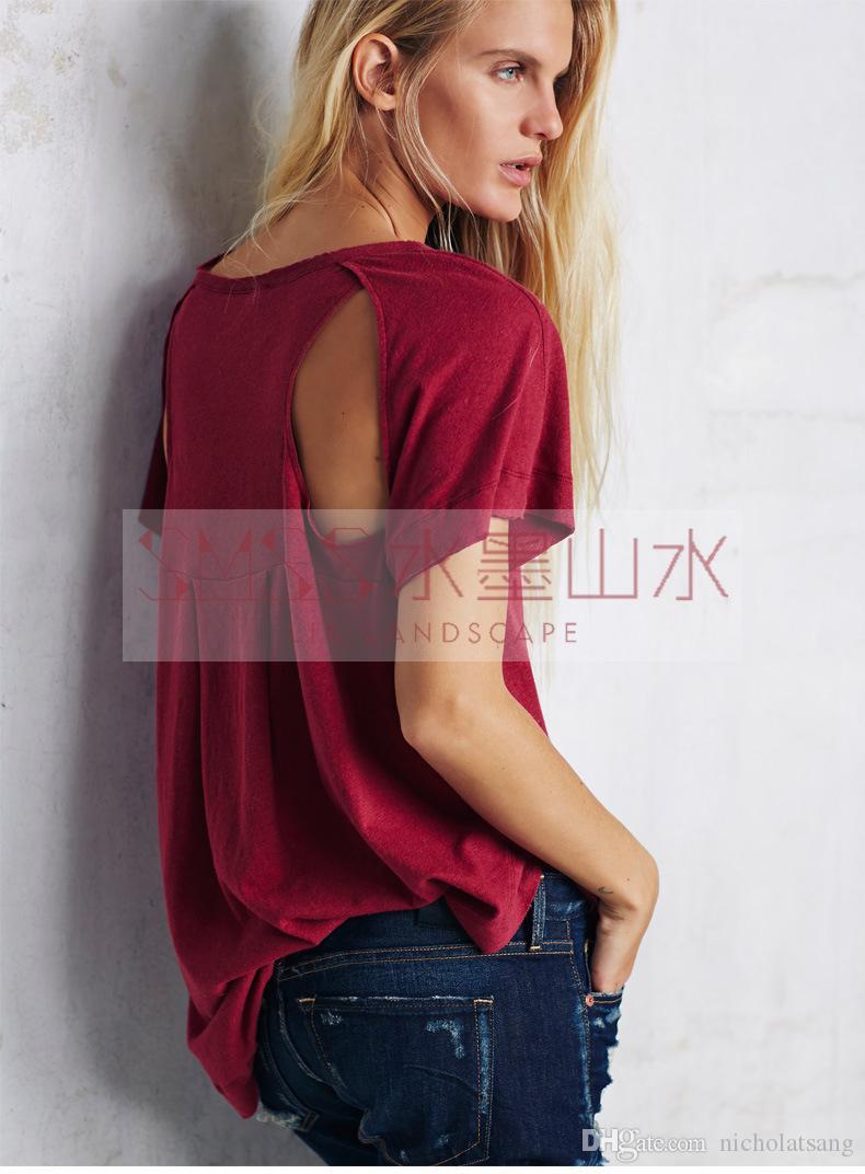 2016 Verano Nuevo Sin Respaldo Sexy Camisetas de Manga Corta para Las Mujeres Blusas Rojas Negro Blanco Flojo Transpirable Camisetas Womens Casual Sudaderas