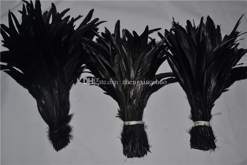 Wholesale 12-14inch black Coque cock feather rooster tail Feather for Costumes decor crafts party decor