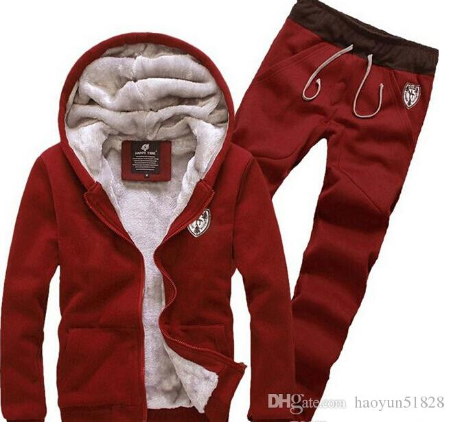fashion 2015 Tracksuit for Man Casual Spring Autumn Thicking Hoody Fur Lining Fleece Hoodies Pant Men's Sports Clothing Sets Sweat Suits