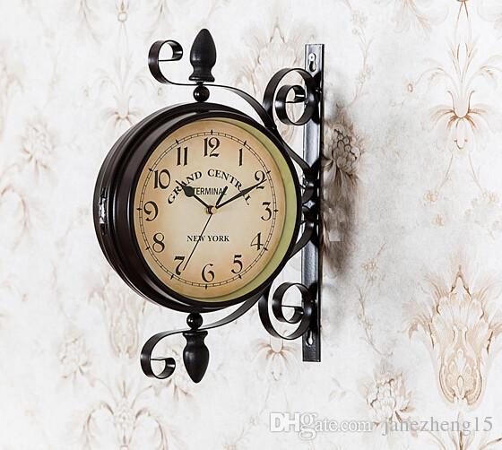 Metal Brown Big Wall Clock Iron Watch Home Garden Clock Wrought Arts Home  Clocks