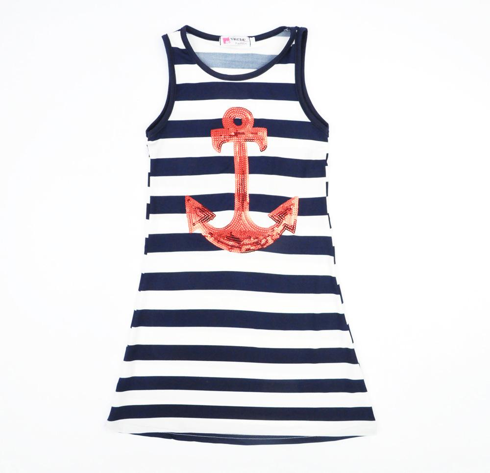2019 Fashion Kids Dress Girls Sequins Anchor Stripes Party Cotton Blue Color 5 P L From Choicegoods521 2638
