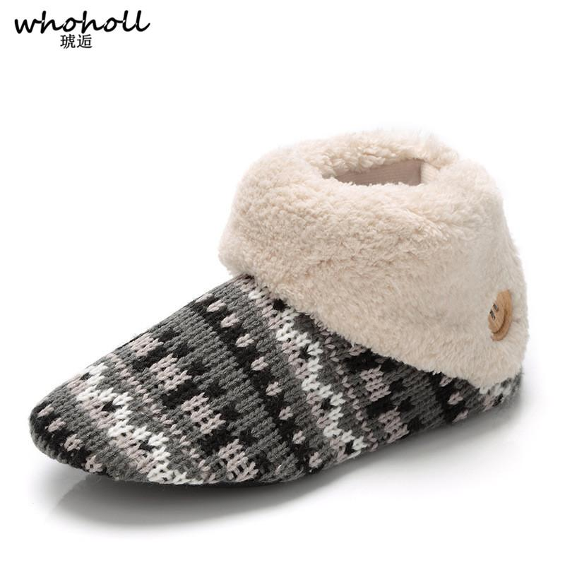 0d318e4906e1 WHOHOLL Winter Warm Slippers Adult Men And Women Winter Household Slipper  Soft Non Slip Thicken Plush Home Indoor Floor Shoes Womens Shoes Desert  Boots From ...