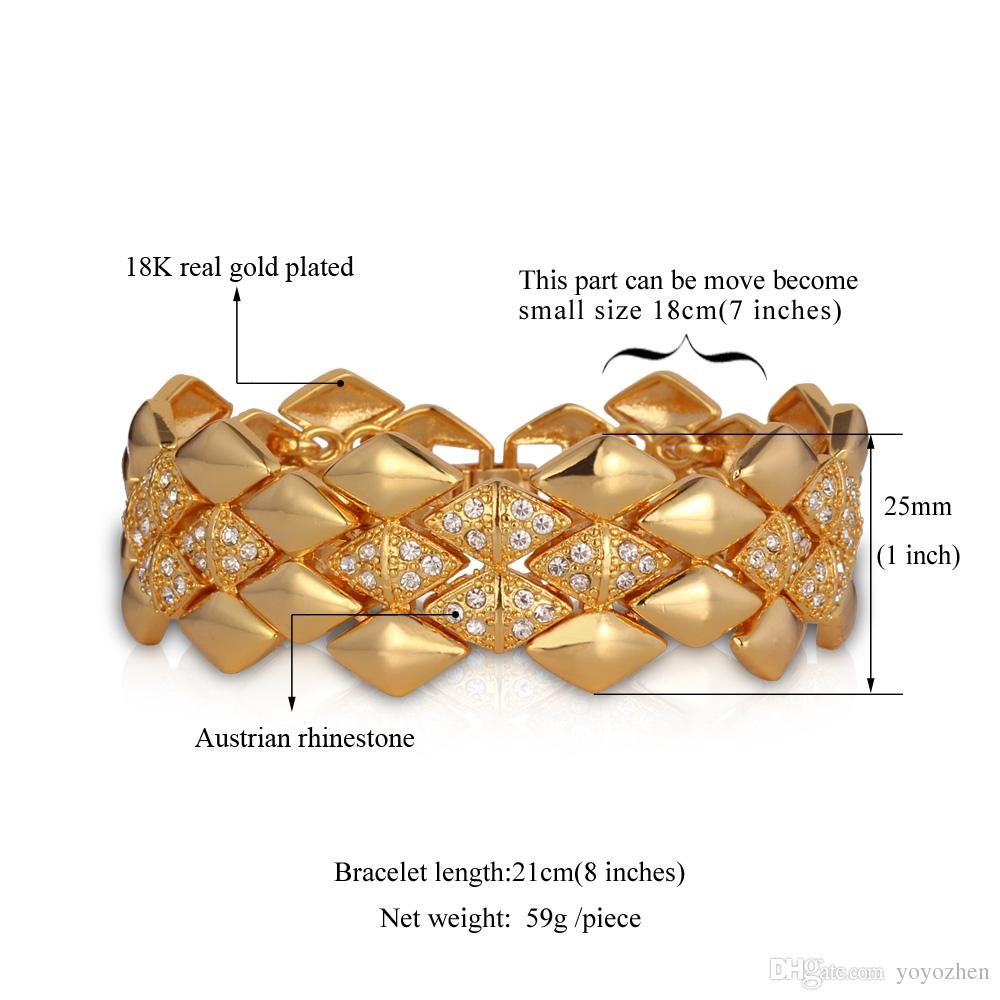 Stora mäns armband 18k gul guldpläterad österrikisk rhinestone mode smycken Bangles Gift för kvinnor Partihandel YH5142