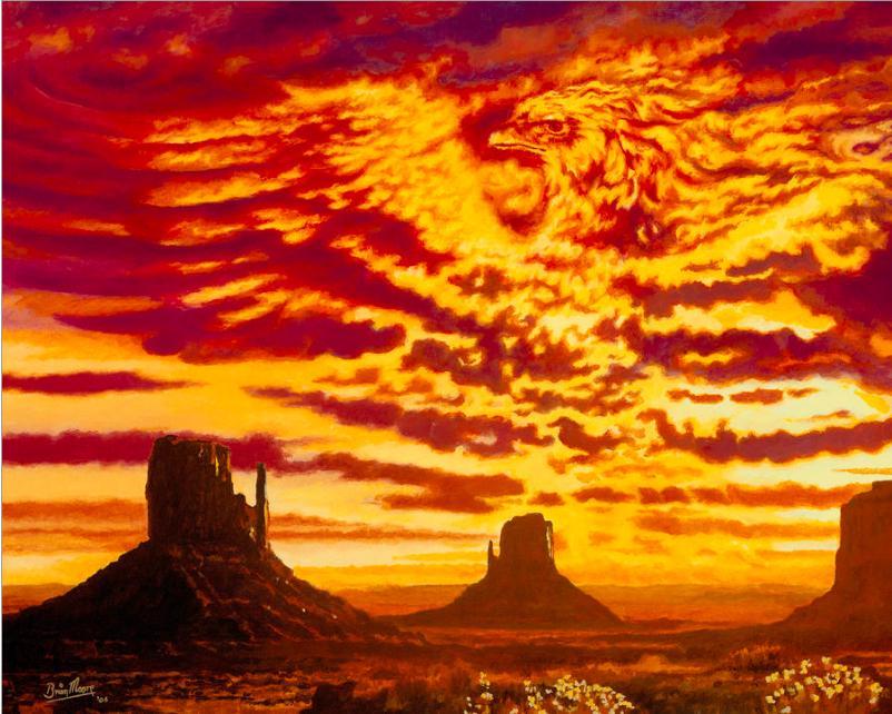 2018 fire phoenix bird painting on canvas giclee sunset for Auto painting az