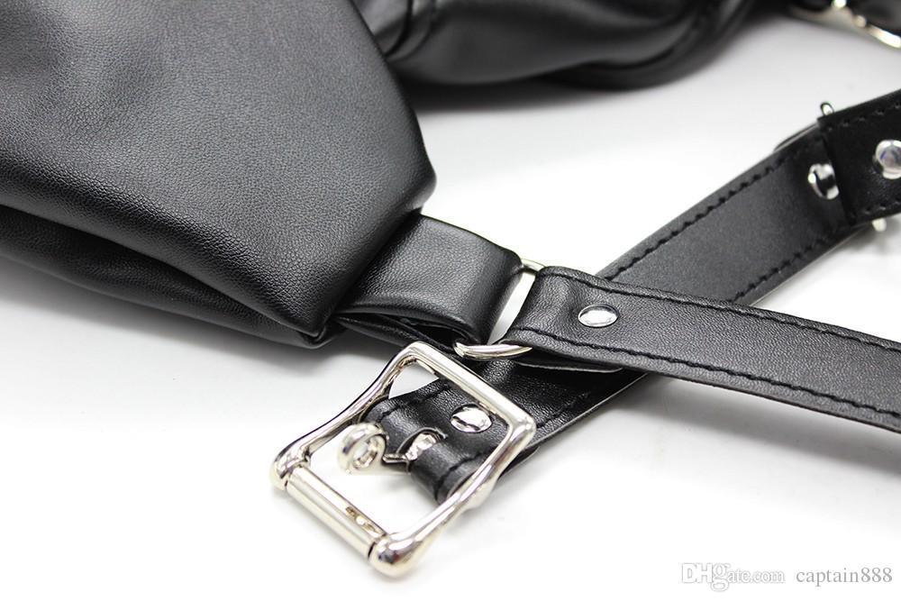 Fetish SM Bondage negro sofe Restricción de cuero Straight Jacket Costume Adjustable Bondage para mujeres juguetes sexuales para adultos 2251n