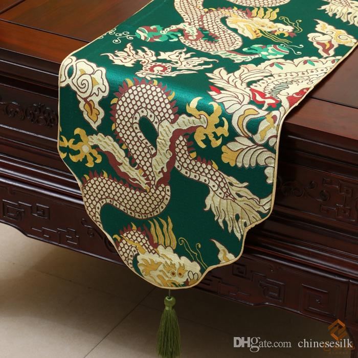 Lengthen Jacquard Dragon Table Runner China Style Cover Cloth High End  Luxury Silk Brocade Tea Table Cloth Festive Banquet Party Decoration Burlap  Table ...