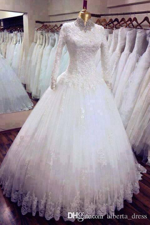 Vintage 2015 Cuello alto por encargo Una línea de vestidos de novia Musulmanes Oriente Medio apliques de encaje mangas largas Iglesia Primavera vestidos de novia