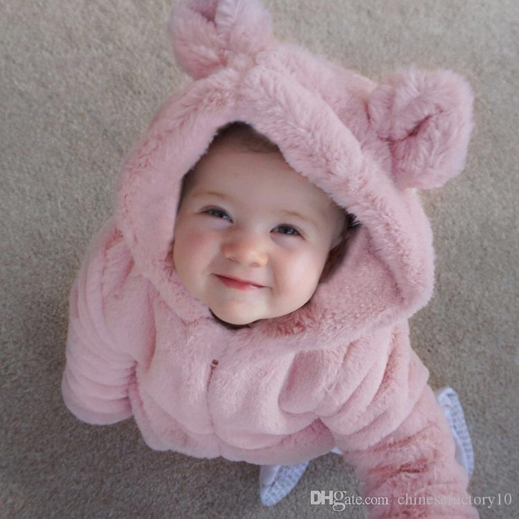Baby Girls Autumn Winter Clothing Kids Faux Fur Coat Pink Solid Thick Warm Cartoon Bunny Ear Hooded Outwear
