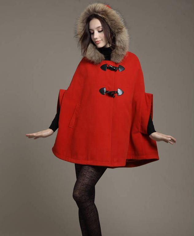 Best Quality S5q Womens Hooded Poncho Cape Coat Winter Warm Fur ...