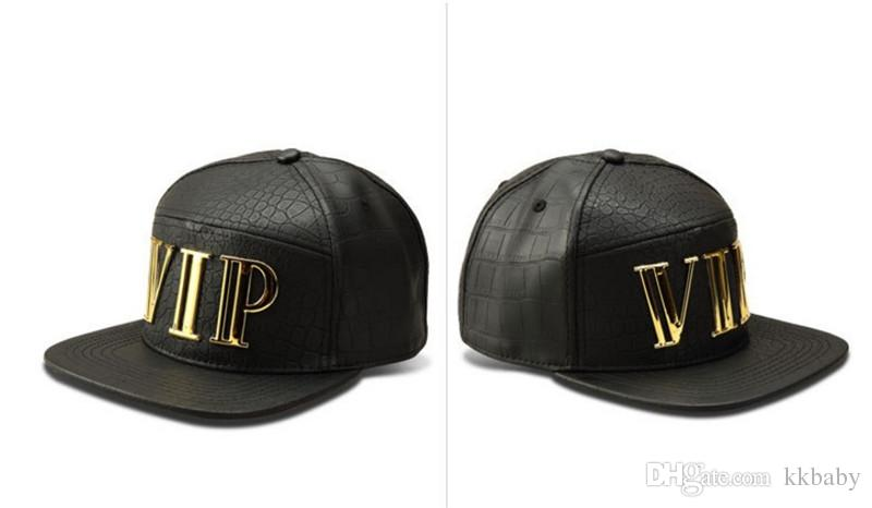 New Fashion Cat Letter VIP Men Hip Hop Vip Letter Baseball Caps Faux PU Leather Casual Unisex Outdoor Street Hats Gold/Black Snapback