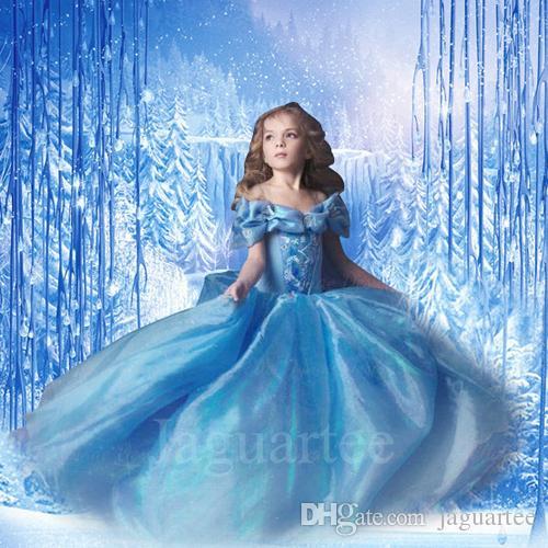Großhandel 2015 Auf Lager Cinderella Kinder Kleid Mädchen Kleid Blau ...