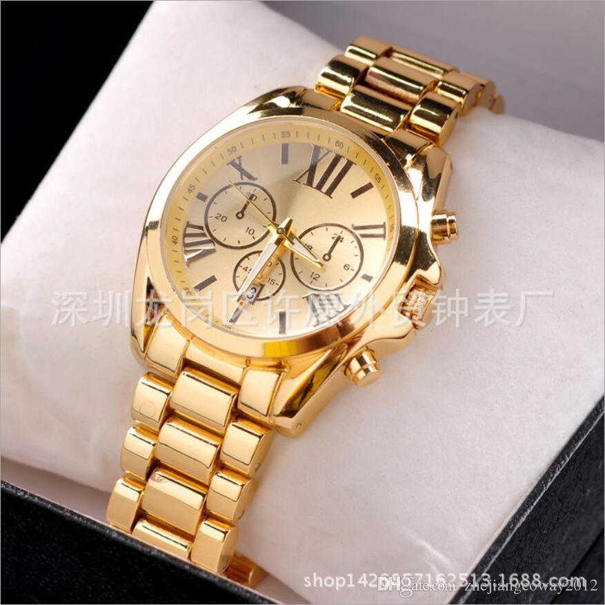 9f824ba07 Hot Relógios Led Relógio de Negócios Dos Homens de Aço Inoxidável Cinto De  Metal Roma Dial Relógio de Ouro Moda Feminina de Alta-grade de Quartzo  Relógios ...