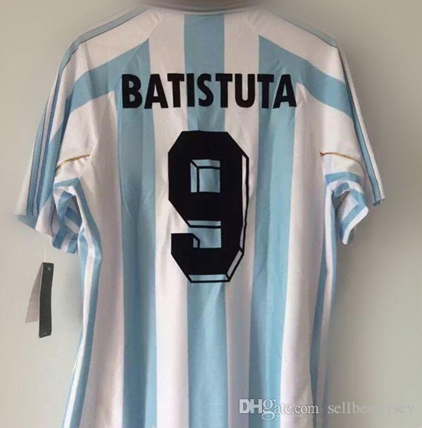 2b06b6fdd56 Retro Jersey 1998 World Cup Argentina  9 Batistuta  10 Ortega Shirt 98  Jersey Batistuta Online with  158.34 Piece on Sellbesjersey s Store