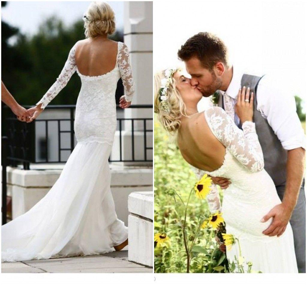 Long Sleeve Boho Wedding Dresses Lace Bridal Gowns With Pleats Sweep Train Backless 2015 Beach Bohemian Tea Length Unique
