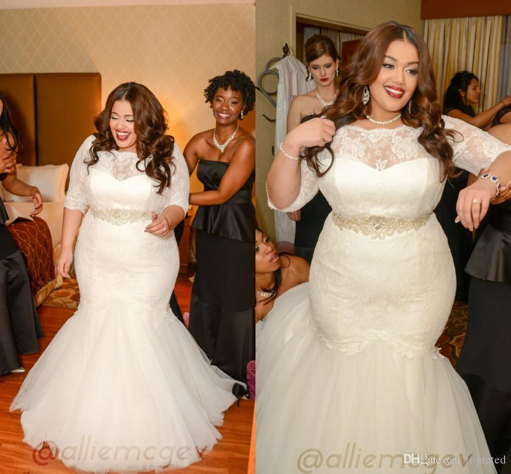 2016 Lace Plus Size Mermaid Wedding Dresses Half Sleeves Sheer ...