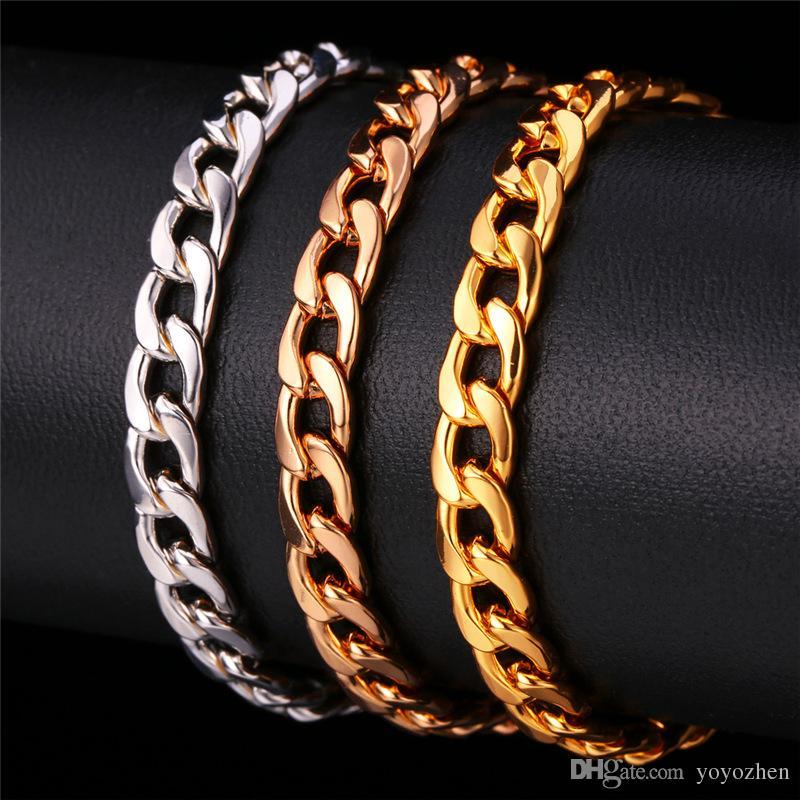 18 كيلو مطلية بالذهب مكتنزة قلادة سوار Chains'18K 'ختم الرجال جودة عالية الأفعى القلائد 7 ملليمتر 50 سنتيمتر 20' 'بالجملة YS755