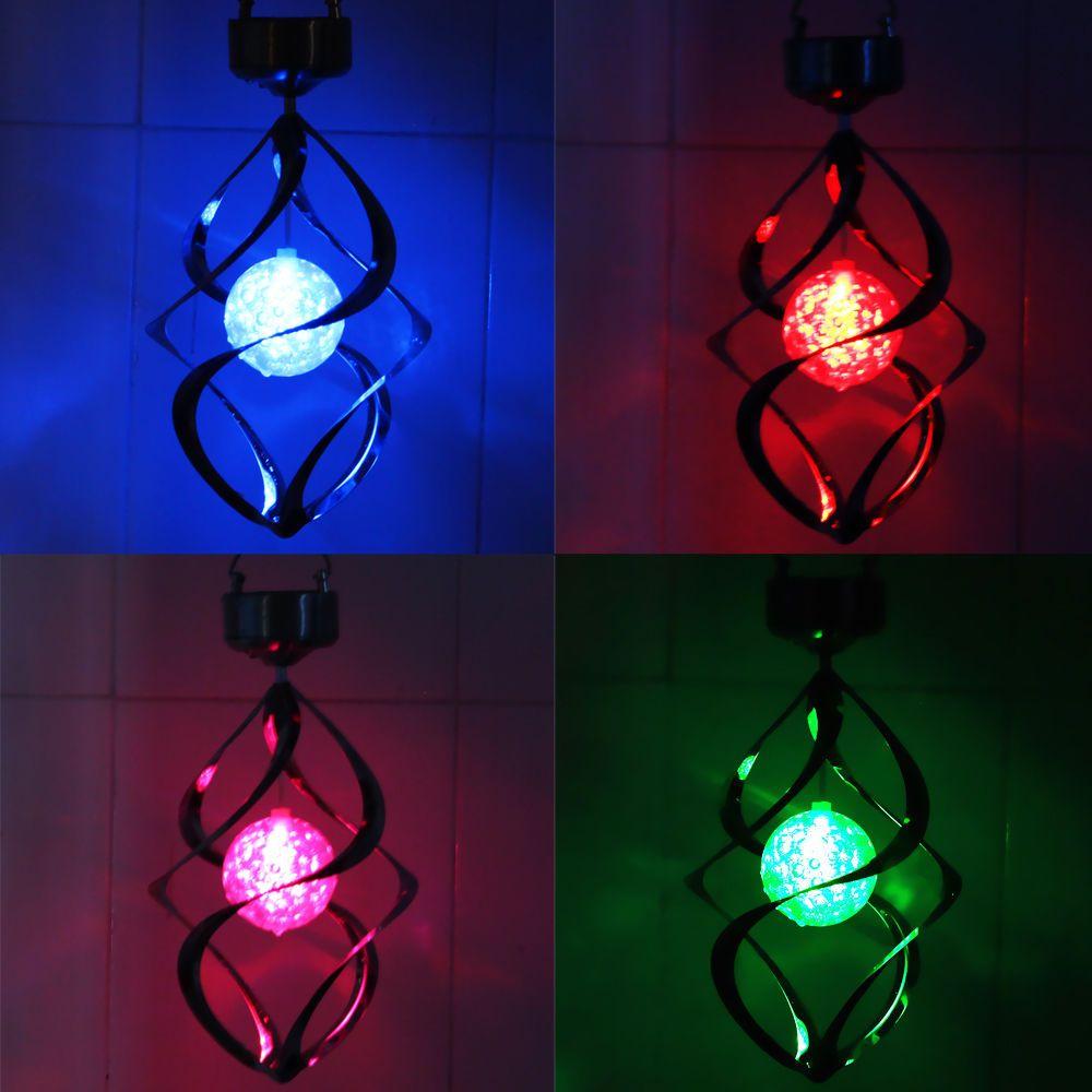 Güneş Enerjili Renk Değiştirme Rüzgar Spinner LED Işık Asmak Spiral Bahçe Çim Lambası Yard Süslemeleri Lamba