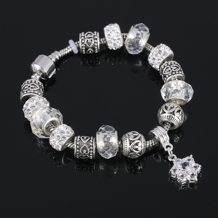 Novo 925 Prata Charme Bracele oco jóia encanto BraceletsBangles para mulheres com Beads estrela pingente de flor de vidro DIY jóias por atacado