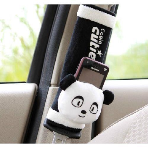 Hot Black White Cartoon Panda Plush Car Auto Seat Belt Cover