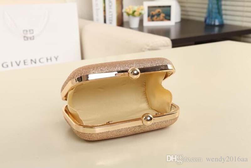 30 unids pequeños bolsos de diseño 2017 oro plata pu embrague de la tarde bolso del banquete monedero nupcial