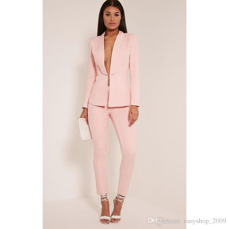 Acquista Light Pink Set Womens Business Suit Blazer Slim Female Uniforme Da  Ufficio 2 Giacca + Pantaloni Su Misura A  95.48 Dal Easyshop 2009  323ed1b3c77