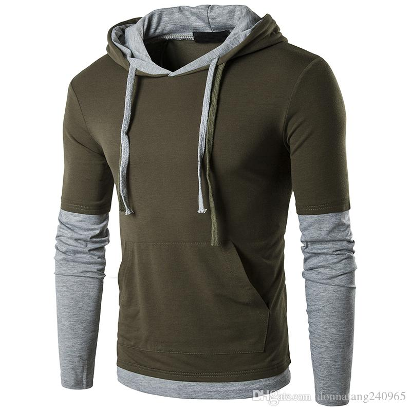 f0b79bec3157c5 Men's T Shirt Hoody Fashion Hooded Sling Panelled Long-Sleeved Tees Shirt V  Neck Male Fake Two Pieces T-Shirt Slim Male Tops