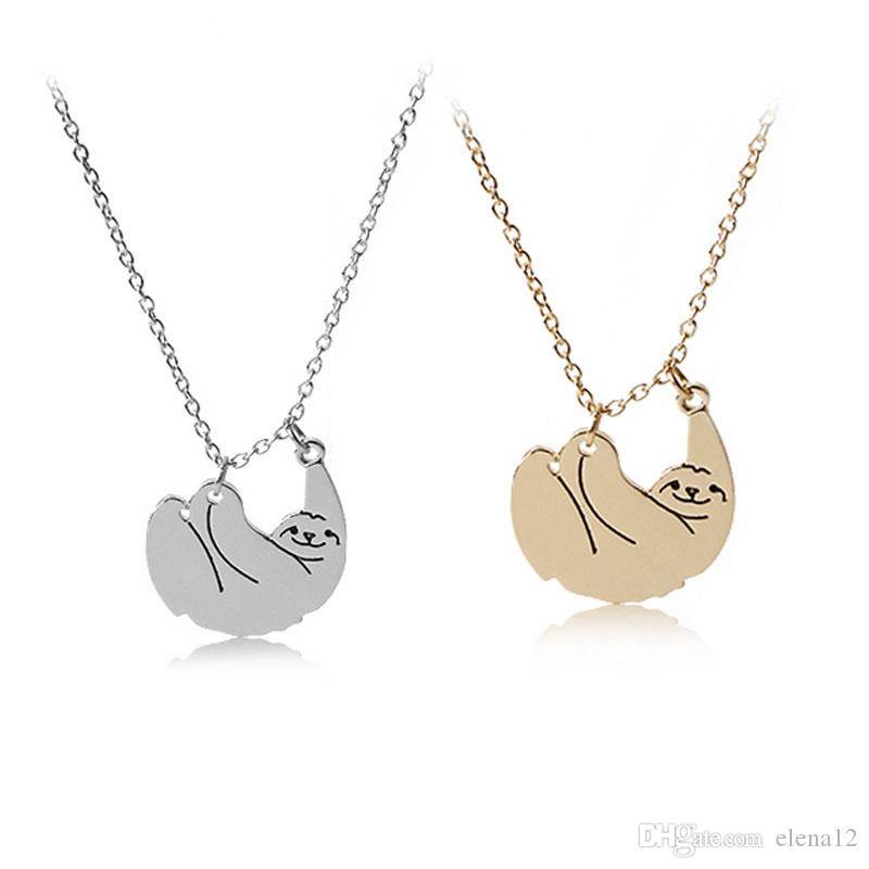 Wholesale fashion sloth pendant necklaces for women goldsilver wholesale fashion sloth pendant necklaces for women goldsilver color chain animal chokers necklace jewelry nice gift for friends 162495 gold necklaces cat mozeypictures