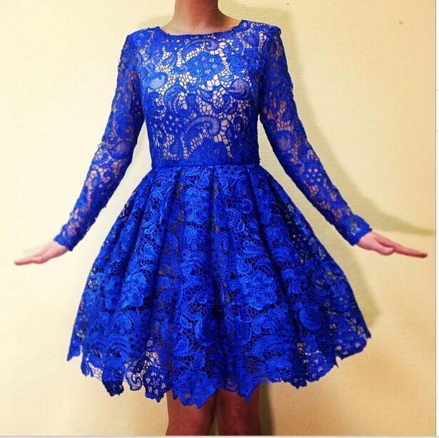 2015 Royal Blue Lace Homecoming Dresses Long Sleeves Actual Image Crew A Line Short Special Occasion Party Gowns Knee Length