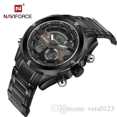 Top Brand NAVIFORCE Men Full Steel Sport Watches Men's Quartz Analog LED Clock Man Military Wrist Watch Relogio Masculino
