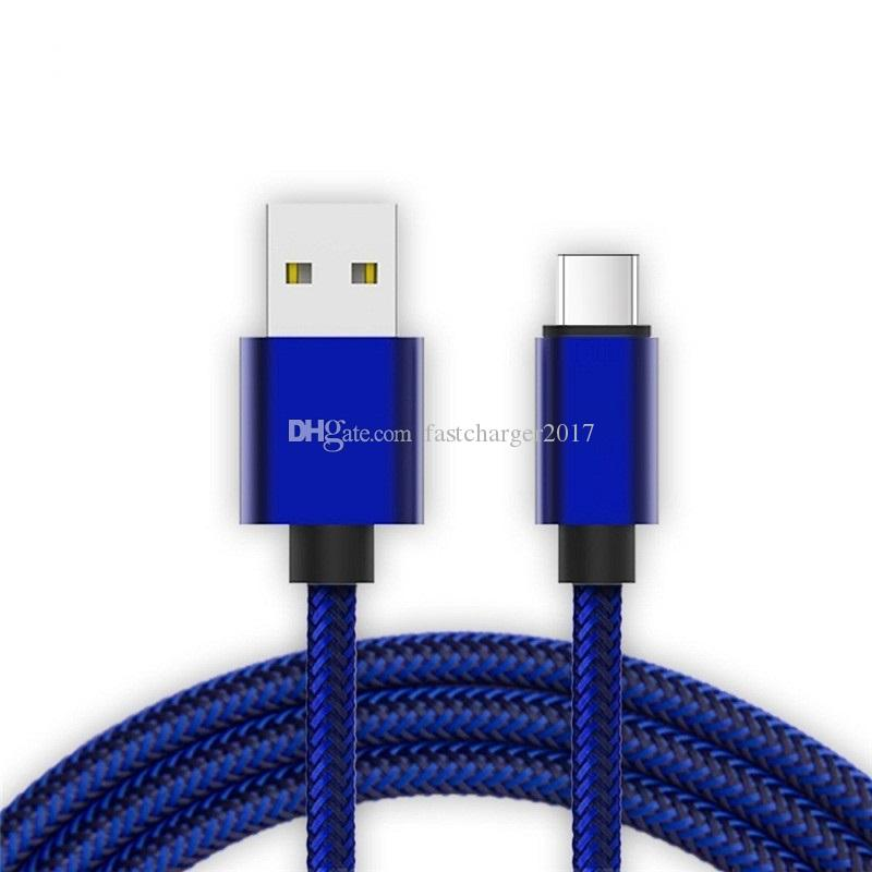 Tipo C de cables de nylon trenzado Usb C Micro cable USB cables de 1m 2m 3m para la galaxia S6 S7 S8 borde nota 8 más para el teléfono Android de HTC