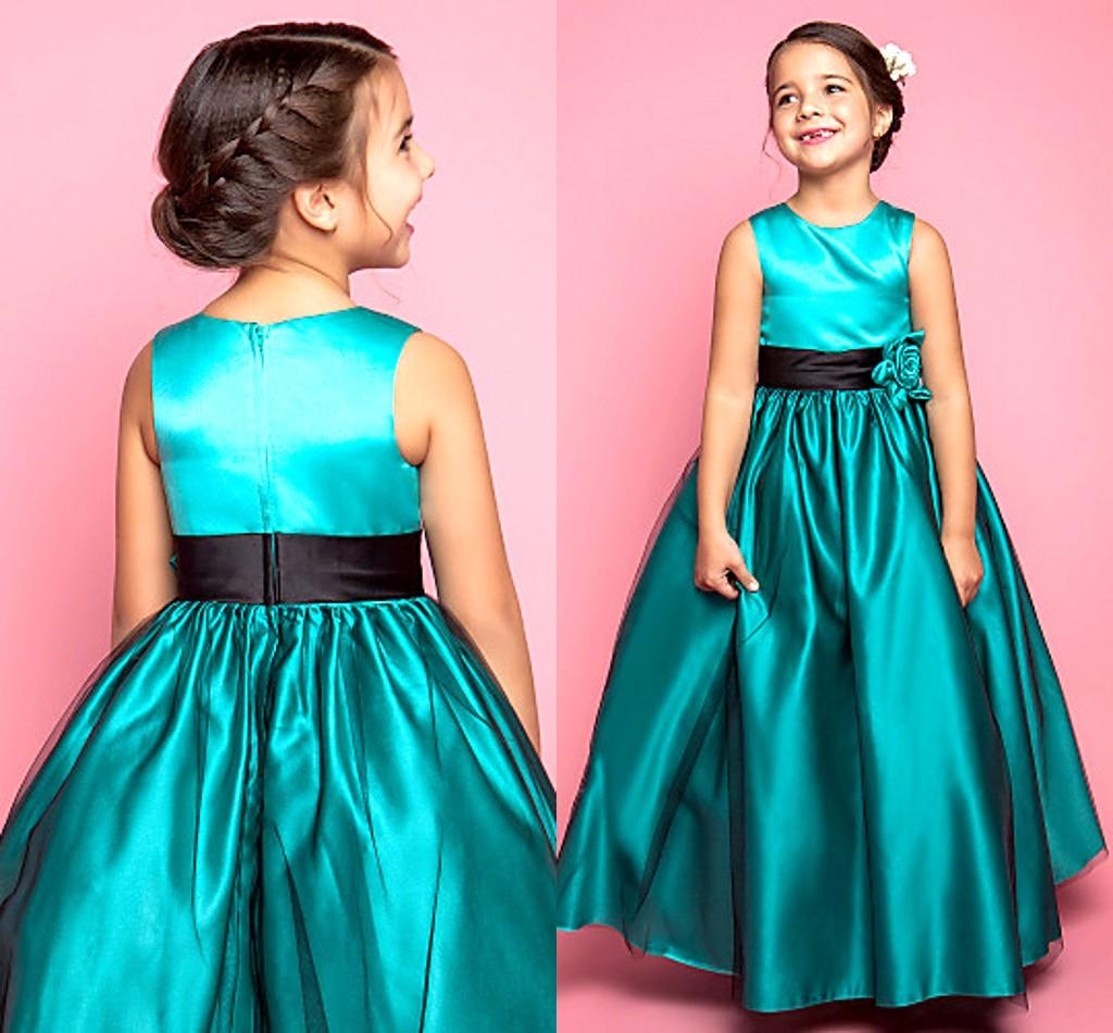 Green Long A Line Wedding Gowns Kids Formal Wear Jewel Satin Hand ...