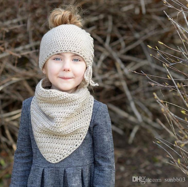 New Autumn Winter Baby Kids Knitted Cap Neck Warmer Set Girls Children Princess Crochet Warm Scarf Hat M142