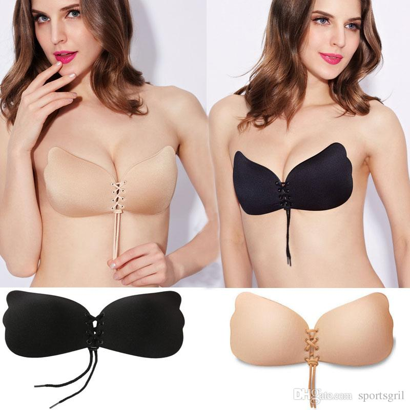 95b52930e01af 2019 Women Strapless Push Up Bra Butterfly Wing Invisible Backless Free  Stick On Bras Self Adhesive Front Bandage Lacing Bras Lingerie Cup Nubra  From ...