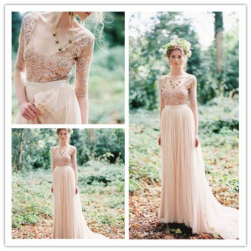 Discount 2015 Bohemia Lace Tulle Bridal Dress Pearl Pink V Neck