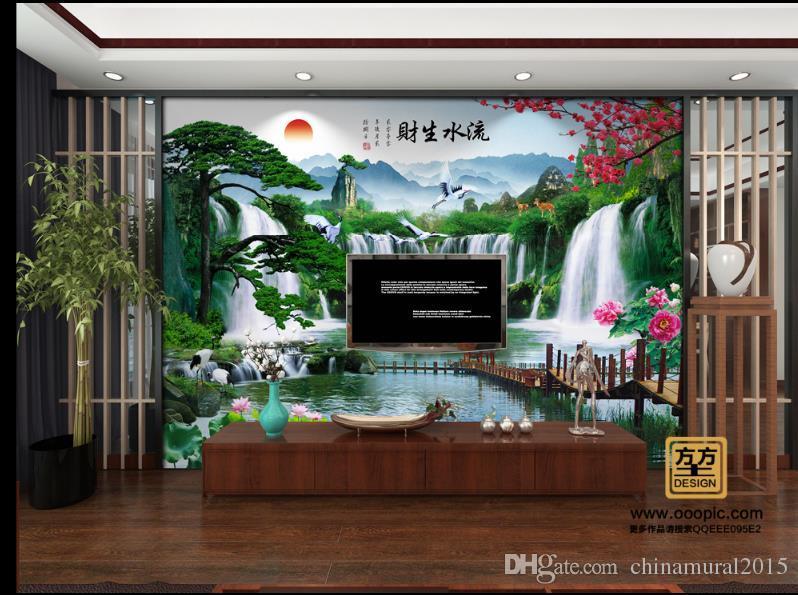 Fondo de pantalla personalizado para sala de estar Flujo de dinero mural de paisaje 3D wallpaper-roll-size