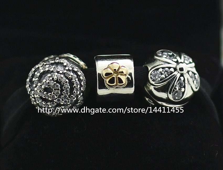 925 Sterling Silver Charms and Murano Glass Bead Set with Charm Box Fits European Pandora Jewelry Charm Bracelets -Flower Clip Sets