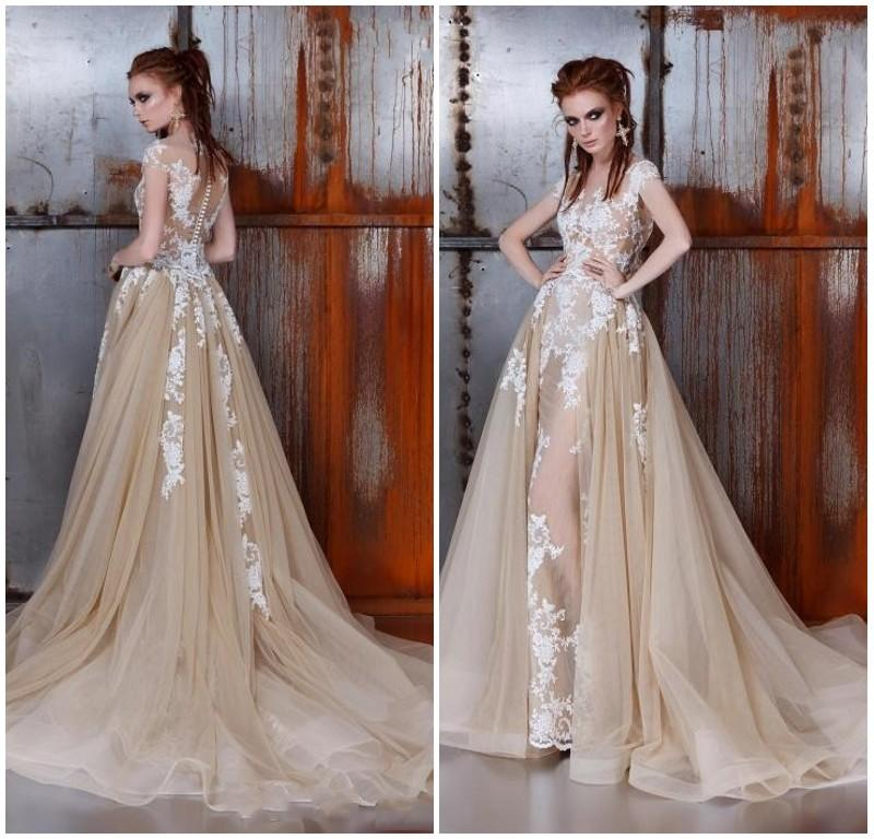 Discount Ange Etoiles Lace Mermaid Wedding Dresses 2016 Two In One Detachable Train Champagne Sheer Cap Sleeve Illusion Bodice Overskirt Bridal Gowns Latest