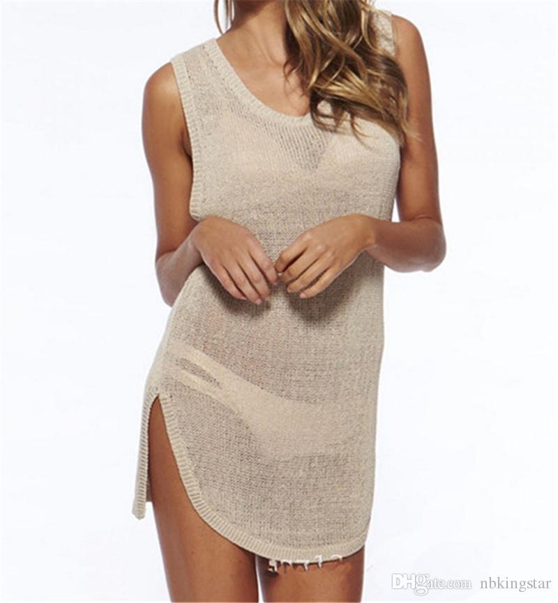 NEW Fashion Sexy Summer Swimwear Crochet Cover Up Women Summer Beach Bikini Cover Up Knitting Swimsuit Cover Up Beach Wear Dress