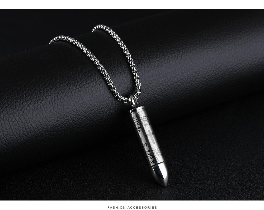 Punk Bullet Pendant Necklaces For Men Cross & Bible Design Box Link Chain God Bless You Personality Gift GX1137