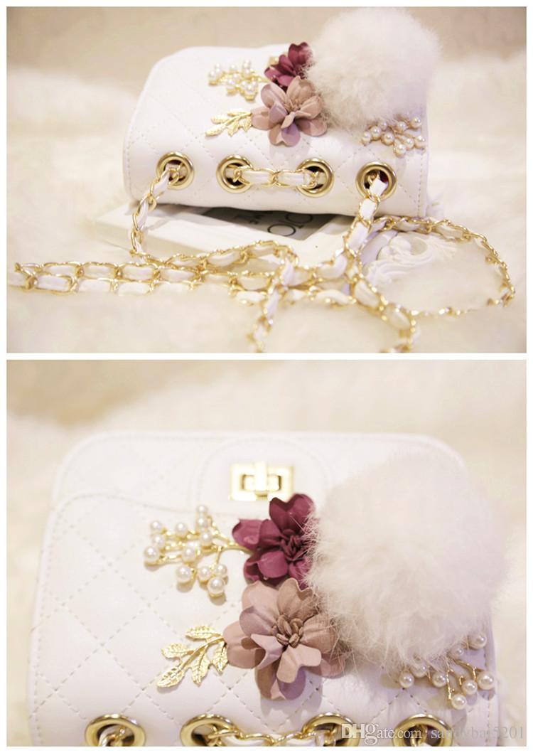 Kids Girls Handbags Baby Girls Pom Chain Messenger Bags Infant Pearl Flower Pu Leather Shoulder Bag 2018 Children Bags Accessories D248