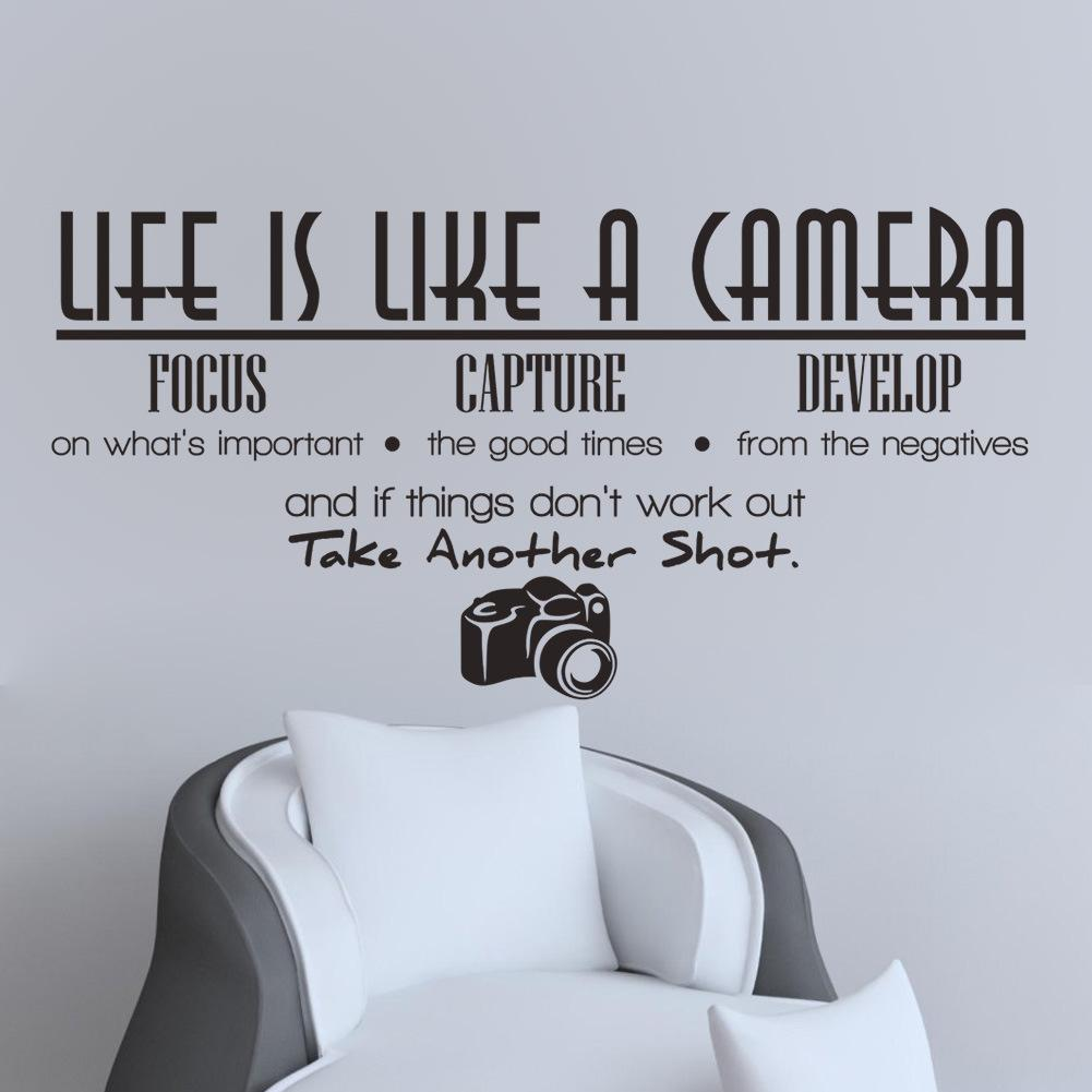 Unique creative removable life is like a camera quote wall unique creative removable life is like a camera quote wall stickers decals office study decoration mural amipublicfo Images