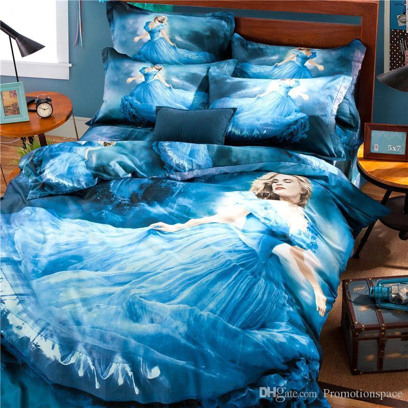 High Quality 2015 New 100% Cotton Cinderella 3d Bedding Supplies For Girls Comforter  Set Duvet Cover Bed Sheet Pillow Cover Dhl Free Duvet Sheet Black White ...