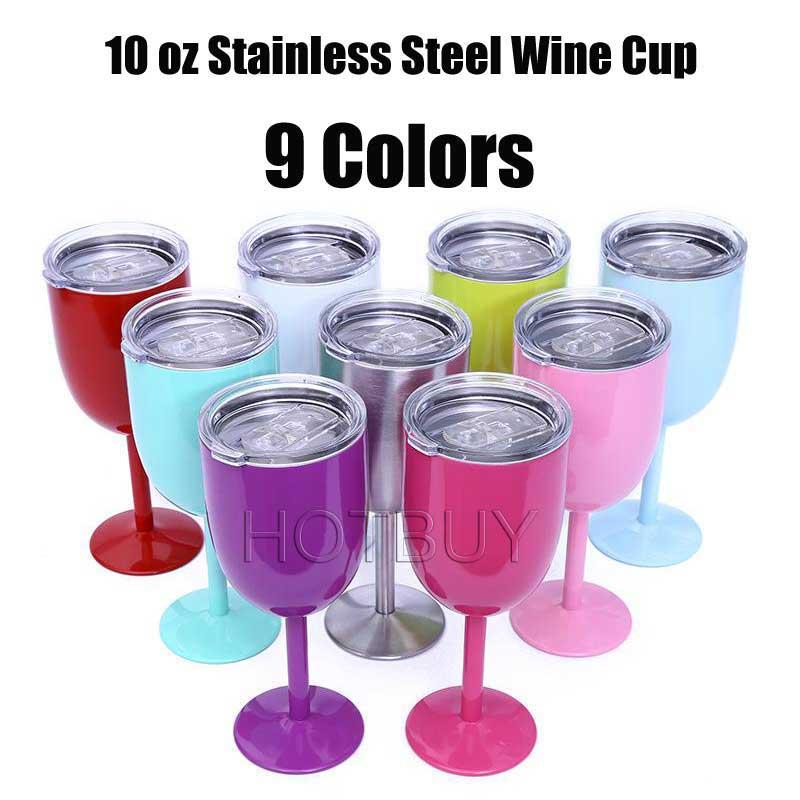 7a616798f0d 10oz Stainless Steel Wine Glass 9 Colors Double Wall Insulated Metal Goblet  With Lid Metal Goblet Red Wine Mugs #4356