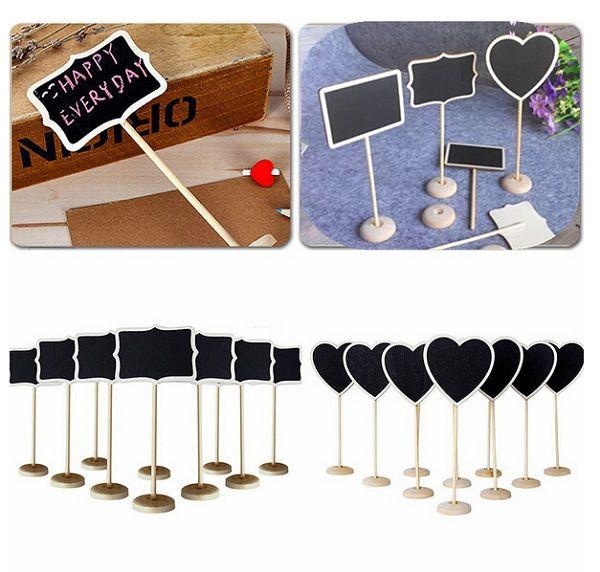 5 teile / satz 3 Formen Holz Tafel Backboard Hochzeit Tisch Decor Nachricht Nummer Tag