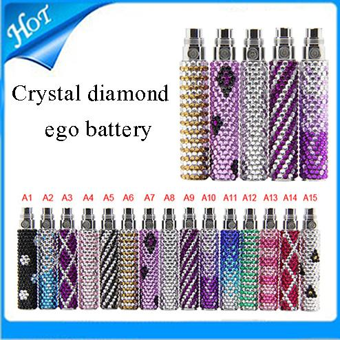 Vente chaude!!! Batterie d'ego diamond bling coloré e Cigarette batterie Cigarette électronique diamant de haute qualité