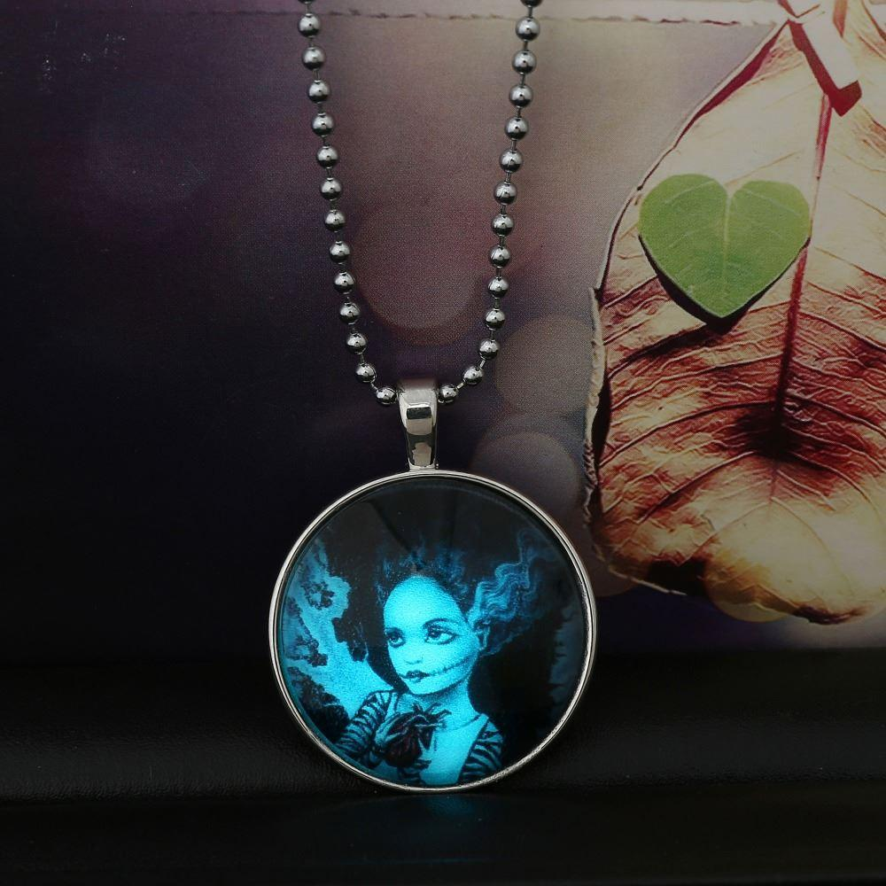 necklace fashion heart chain in glow the glowing round dark pendant products locket jewelry